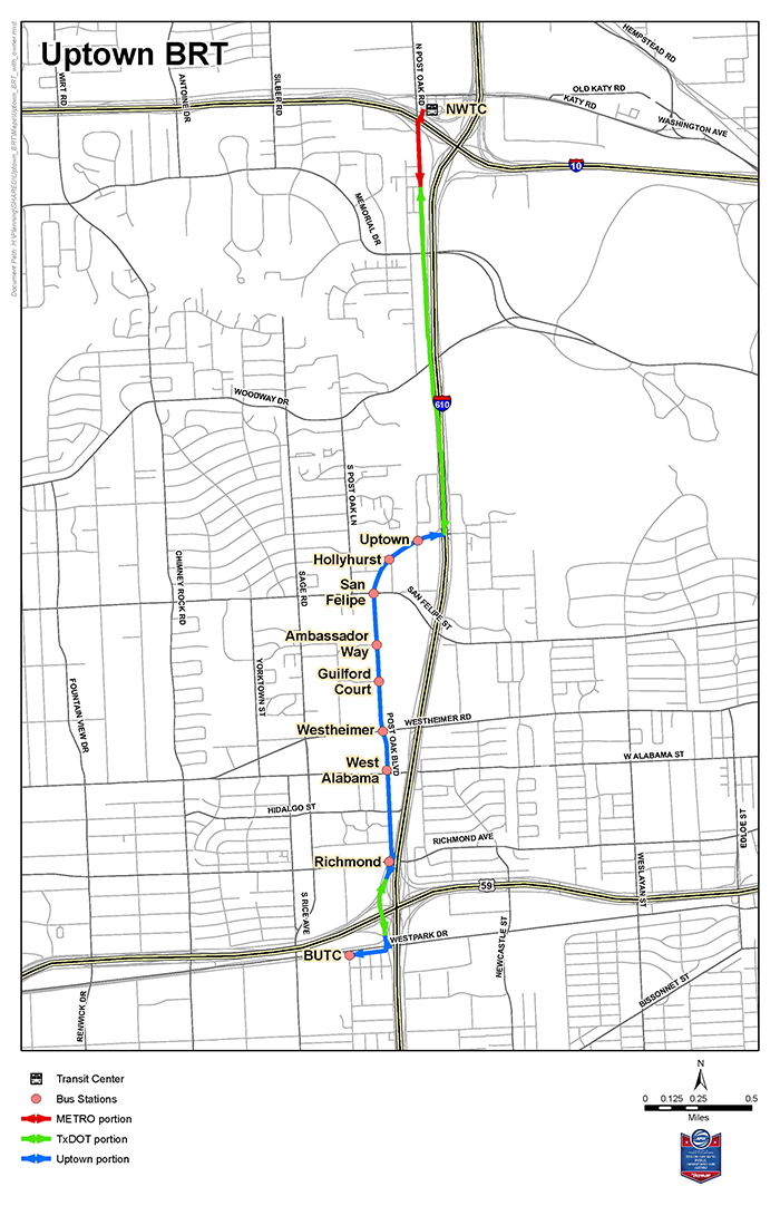 Uptown BRT Project map