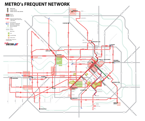No Legend Frequent Network Proposed Aug. Implementation Map